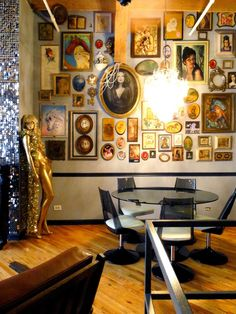 Gallery wall, earring chandelier, pearls draped over portrait, sequin wall <3 Shaun & Matt's Glam Loft