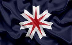 Indir duvar kağıdı Japon ilin, amblem, bayrak Hokkaido Hokkaido İdari bayrak, Japonya, 4k, ipek bayrak, Hokkaido, semboller