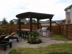 Grill, Pergola, Backyard, Barstools  Pergola and Patio Cover  RockFrog Backyard Escapes  Katy, TX