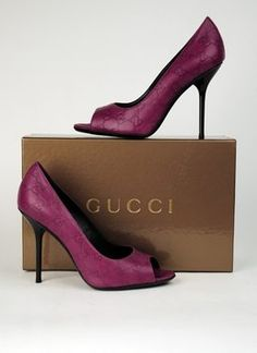 Gucci Gg Logo Heels Purple Pumps