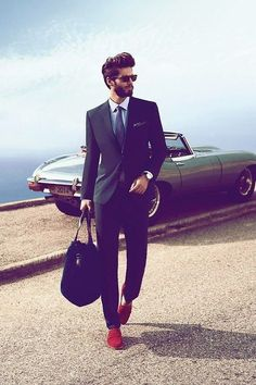Classy style & red shoes. Men's suit