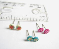 Small Flower Earrings Set of 3 Tiny Stud Earrings by FoxiesFancy