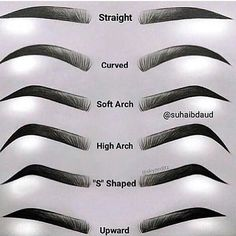Eyebrow Chart Guide to your brows Different types of eyes . - Eyebrow Chart Guide to your brows Different types of straight eyebrows - Eyebrows Sketch, How To Draw Eyebrows, Drawing Eyebrows, How To Thread Eyebrows, Makeup Drawing, Different Types Of Eyes, Different Eyebrow Shapes, Arched Eyebrows, Eye Brows