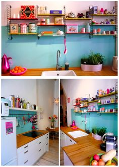 Light blue and fuschia pink add a lovely splash of colour to create a bright and colourful kitchen.