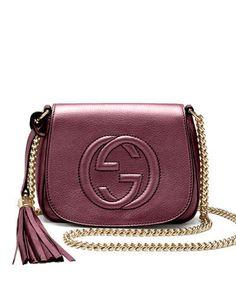NWT $980 Gucci Soho Metallic Leather Chain Crossbody Bag Burgundy #Gucci #MessengerCrossBody