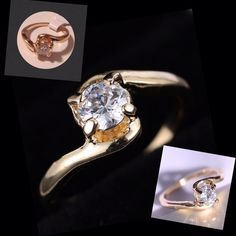 18k GF White Sapphire Ring Elegant white sapphire solitaire ring. 18k gold filled. New! Jewelry Rings