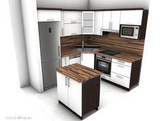 Malá rohová kuchyně s ostrůvkem