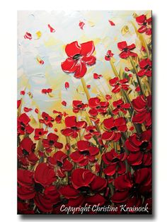 """ORIGINAL Art Abstract Painting Red Poppies Painting Textured Poppy Flowers Paintings Spring Wall Decor Gold 24x36"""" Christine"""