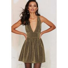 Nasty Gal Struck Gold Metallic Mini Dress ($23) ❤ liked on Polyvore featuring dresses, gold, strappy dress, brown cocktail dress, v-neck dresses, cut out mini dress and v neck cocktail dress