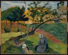 Paul Gauguin, Landscape With Two Breton Women, 1889 on ArtStack #paul-gauguin #art