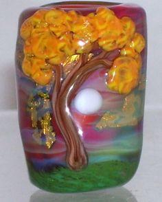 WSTGA~FALL SKIES~TREE MOON European charm handmade lampwork focal glass bead By Molly Cooley