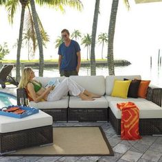 Hospitality Rattan Soho 5 Piece Deep Seating Group with Cushion Fabric: Gavin Mist