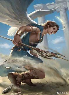 Noran Diux- White Messanger of Thormont (God of Wind) Fantasy Male, Dark Fantasy Art, Fantasy Artwork, Fantasy Character Design, Character Inspiration, Character Art, Male Angels, Angels And Demons, Fantasy Creatures