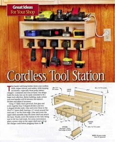 #210 Cordless Tool Station Plans - Workshop Solutions Plans, Tips and Tricks