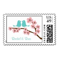 Turquoise & Pink Cherry Blossom Wedding Stamp