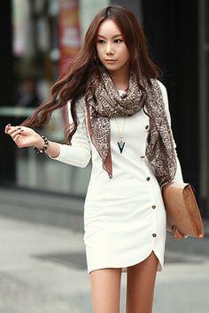 Fashion O Neck Long Sleeves Buckles Designed Asymmetrical White Sheath Mini Dress