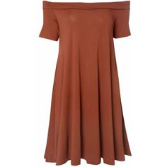 Rust Bardot Jersey Swing Dress ($30) ❤ liked on Polyvore featuring dresses, brown, brown swing dress, jersey knit dress, rust dress, off the shoulder dress and glamorous dresses