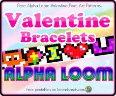 Valentine Alpha Loom Pixel Patterns Free Printables