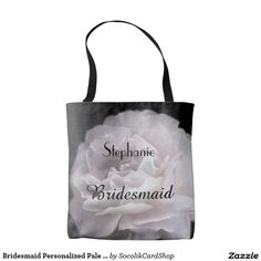 Bridesmaid Personalized Pale Pink Rose Tote Bag - This beautiful Bridesmaid personalized tote bag, decorated and personalized on both sides, features our original photograph of an ultra pale pink rose. An elegant gift for members of your bridal party. Original photograph by Alan & Marcia Socolik. All Rights Reserved © 2016 Alan & Marcia Socolik.  #zazzle