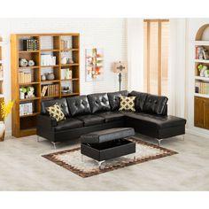 Lyke Home Mayra Sectional with Ottoman (Mayra Black Sectional with Ottoman) (Bonded Leather) Black Sectional, Leather Sectional, Sectional Sofa, Best Sectionals, Black Ottoman, Home Goods Store, The Help, Living Room, Interior