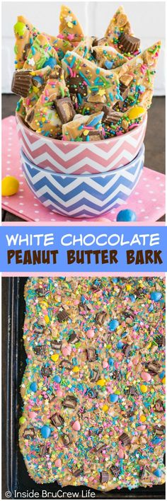 White Chocolate Peanut Butter Bark - two kinds of Reese's candies and tons of sprinkles make this a fun no bake dessert.