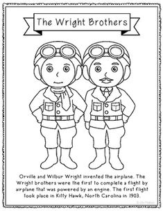 the wright brothers coloring page activity or poster with biography inventor