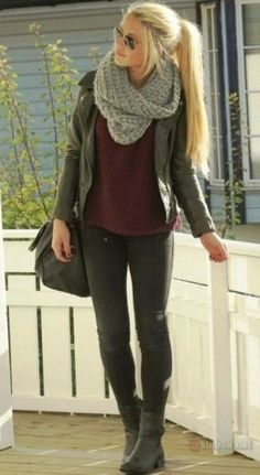 Lovely outfits fashion with sweater, scarf, jacket and skinny jeans