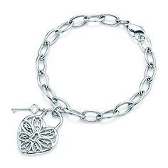 Bracelet avec clé et Cœur ajouré Tiffany en argent massif. Medium OMAGAAAAD<3