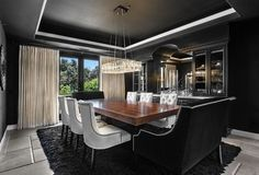 Gorgeous dining room that is all about black