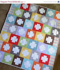 ON SALE Rainbow Inside Out Plus Quilt by HalfStitched on Etsy