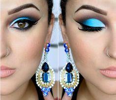 Maquiagem Azul Vibrante  Cut crease/ Blue eyeshadow