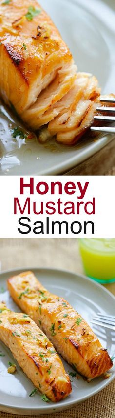 Honey Mustard Baked Salmon – moist, juicy and best baked salmon ever with honey mustard. Takes 10 mins active time and dinner is ready! | rasamalaysia.com
