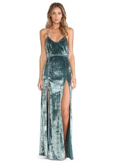 For Love & Lemons Vixen Maxi Dress in Sage Velvet | REVOLVE