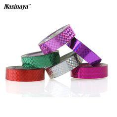 5 teile/paket Rhythmische Gymnastik Dekoration Holographische Bänder RG Prismatic Glitter Bänder Gimnasia Ritmica Künstlerische Hoops Stick