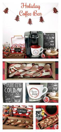 Holiday coffee bar with tutorial for DIY chocolate stir spoons #HolidayFlavorsAreHere #ad