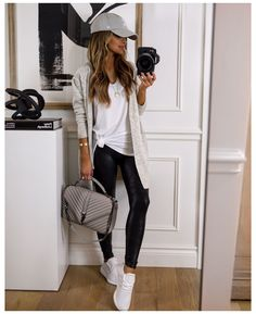 10 Ways To Style The Faux Leather Leggings From The #NSALE #adidas #tights #outfit #fashion #adidastightsoutfitfashion Today, I'm sharing all the different ways you can dress up (or dress down) faux leather leggings for the fall season. Spanx faux leather leggings...