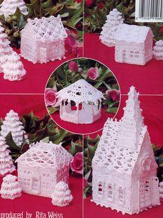 Thread Crochet Christmas Village Crochet Patterns in Crafts, Needlecrafts & Yarn, Crocheting & Knitting Crochet Christmas Ornaments, Christmas Crochet Patterns, Holiday Crochet, Crochet Home, Crochet Crafts, Free Crochet, Christmas Knitting, Christmas Projects, Holiday Crafts