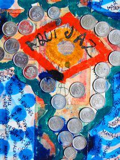 AQUI JAZ/RIP - Trabalho em técnica mista, acrílica, moedas e cédulas coladas sobre papel cartão envernizado. Produzido no ano de 1986 - A minha indignação continua. Ricardo Eugênio Araújo - Ricaru  REST IN PEACE - Working in mixed media, acrylic, coins and banknotes glued on varnished cardboard. Produced in 1986 - My indignation continues. Ricardo Eugênio Araújo - Ricaru