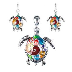 Multi Color Silver Sea Turtle Necklace and Earring Set