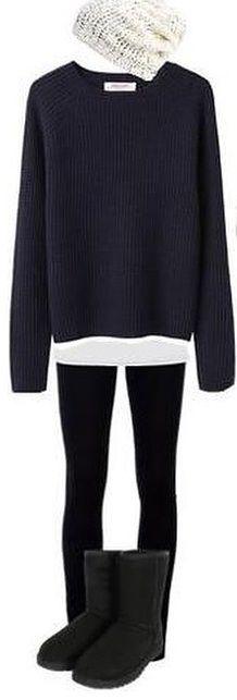 black leggings, long white shirt, black sweater, black ugg boots, and white beanie.