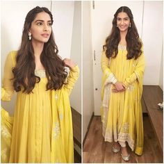 """Sonam Kapoor looks pretty in a Yellow outfit by Anamika Khanna for PRDP promotions. @INSTABOLLYWOOD . #instabollywood…"""""""
