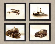Transportation Set 1 in Sepia- Four 8x10 Photos - Adventure Travel History Boys Room Vintage Antique Airplane Plane Car Train Boat Ship via Etsy