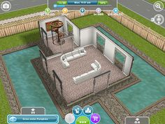 Sims freeplay i like the zigzag shape of the house for Sims 3 pool design