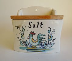 Vintage Salt Box Ceramic Salt Box With Lid Rooster by treasurecoveally on Etsy