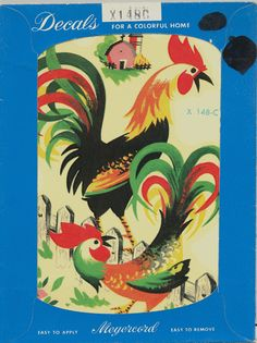 Bright Colorful Rooster Vintage Meyercord Decals Number X148C