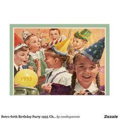 Retro 60th Birthday Party 1955 Childhood Memories Card