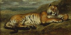 Eugène Delacroix (French, Tiger Resting, c. 1830 Oil on canvas inches