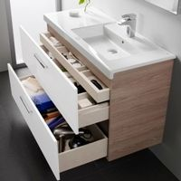16 Awesome Vanity Ideas For Small Bathrooms - Modern small bathroom vanity with storage drawers - Modern Small Bathrooms, Small Bathroom Vanities, Laundry In Bathroom, Bathroom Renos, Bathroom Cabinets, Bathroom Renovations, Bathroom Furniture, Bathroom Storage, Modern Bathroom