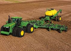 JD John Deere Tractor with air seeder Jd Tractors, John Deere Tractors, John Deere Equipment, Heavy Equipment, Old Ford Trucks, Pickup Trucks, Cat Farm, New Holland Agriculture, Tractor Pictures