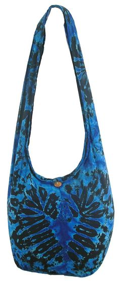 """Tie Dye Bohemian Sling Cross body Shoulder Hippie Boho Hobo Messenger Bag HT9-DarkBlue. Dimensions : Height of bag, not including the strap: 13"""" Width of bag, when laid flat: 19"""" Depth : 8 """" Length of Strap: 45 """" Width of Strap: 7 """". A main top compartment zipper and Inside zipper Pocket. Fabric: 100% Cotton, Condition: Brand New. This Handmade Tie-dye bag colors are vibrant and vary to each bag. Size : Large."""
